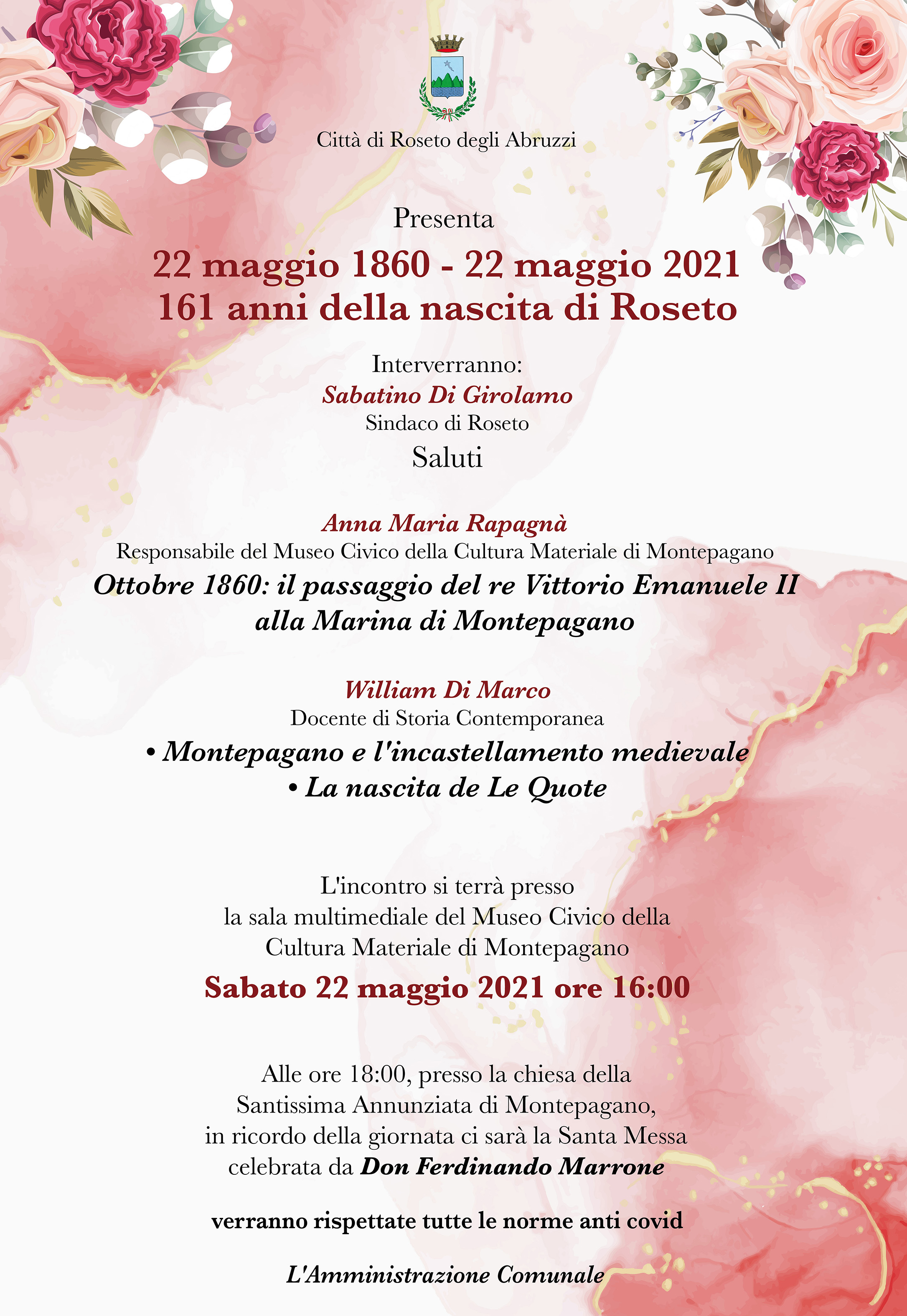 22 MAGGIO 1860/22 MAGGIO 2021 - 161 ANNI DELLA NASCITA DI ROSETO