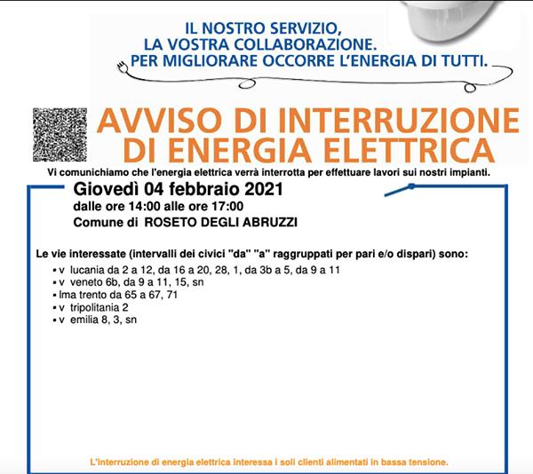 AVVISO DI INTERRUZIONE DI ENERGIA ELETTRICA - GIOVEDI' 4 FEBBRAIO 2021