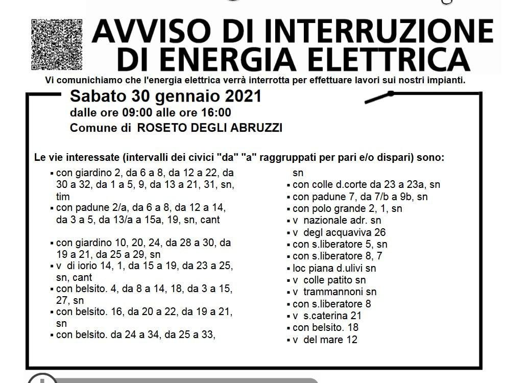 AVVISO DI INTERRUZIONE DI ENERGIA ELETTRICA - SABATO 30 GENNAIO 2021