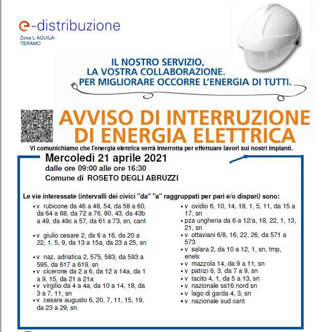 AVVISO INTERRUZIONE ENEL PER MERCOLEDI 21 APRILE